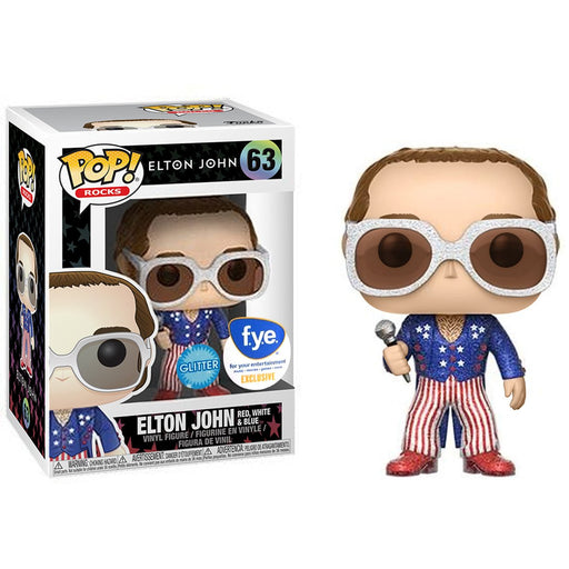 Funko Pop! Rocks Elton John Red White & Blue Glitter FYE Exclusive Vinyl Figure - Characters Co