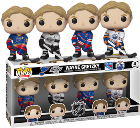 Wayne Gretzky Blues Kings Rangers Oilers Funko Pop! NHL Four Pack Vinyl Set - Characters Co