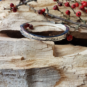 "Equilibrium ""Believe in yourself"" hinged bangle"
