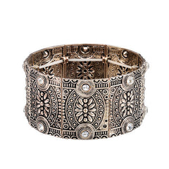 Vintage Antique Gold and Silver Effect Stretch Cuff Bracelet