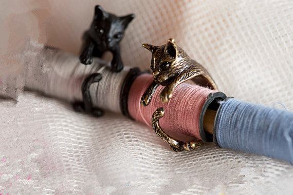 Cute Cat Vintage Ring With Tail