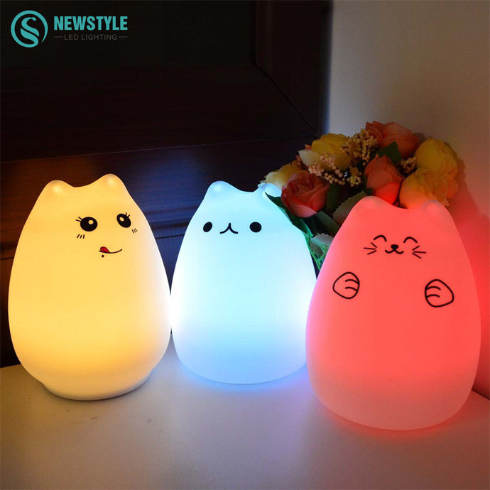 Colorful Cat Silicone LED Night Light - Rechargeable Wtih Touch Sensor