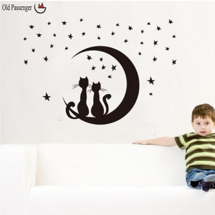 Removable Cat and Moon Wall Stickers