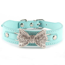 Crystal Bow Leather Dog Collar