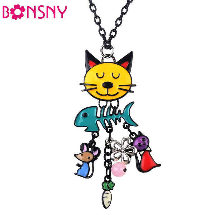 Lovely Long Chain Colorful  French Cat Necklace