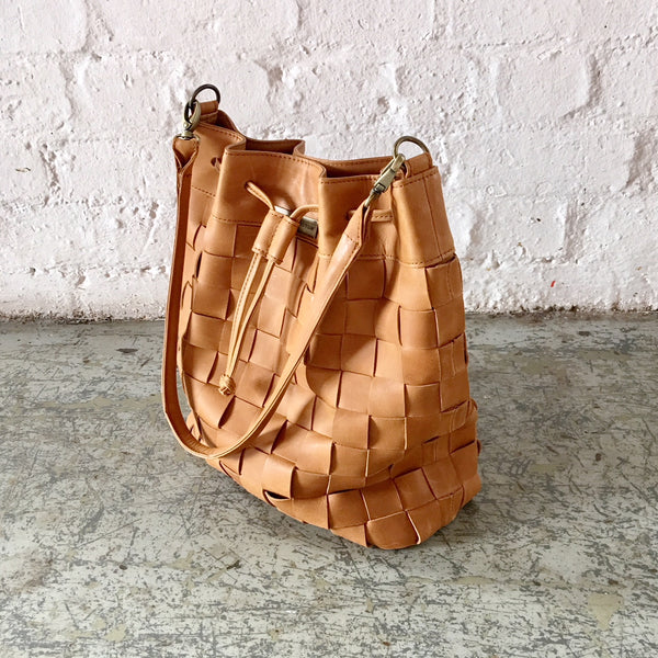 Leather Woven Bucket Bag