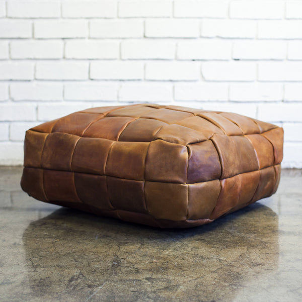 Leather Patchwork Pouffe