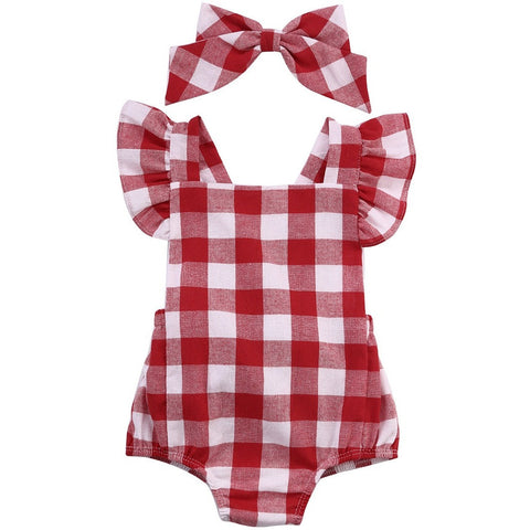 Newborn Girls Red Plaid  Outfit
