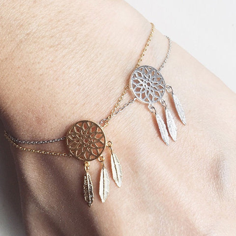 Pameng New Fashion Silver Color Dreamcatcher Charm Bracelets For Women Dream Catcher Jewelry Gold Color - Westbury Collections
