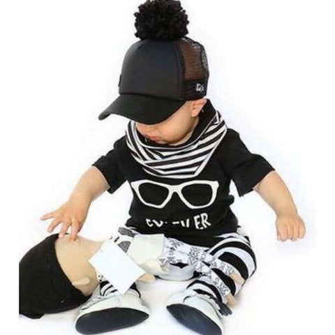 set baby clothes glasses pattern short-sleeved T  stripe pants fashion