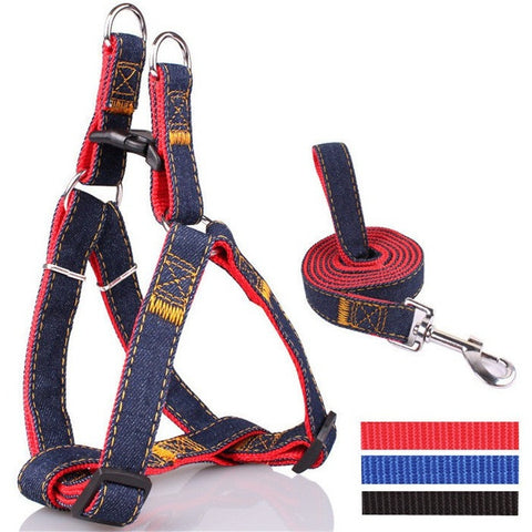 Denim Leash Dog /Cat Harness