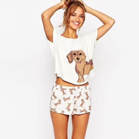 Pink Size XS Cute Women's Sets Dachshund Print 2 Pieces Set Crop Top + Shorts Elastic Waist Stretchy Loose Plus Size