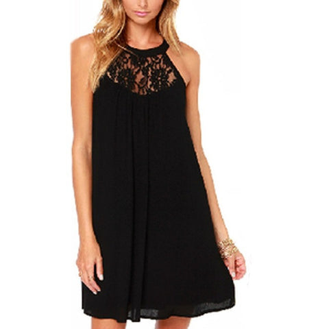 Lace Patchwork Chiffon Mini Dress - Westbury Collections