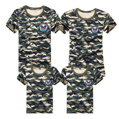 Summer Family Matching Clothes Army Color Family Look T-shirt Tees