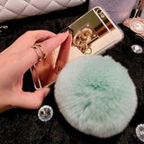 Mirror Rabbit Fur Ball Pendant  Phone Case for Samsung