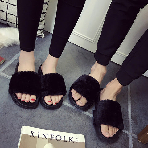 Women Fur Slides Sandals