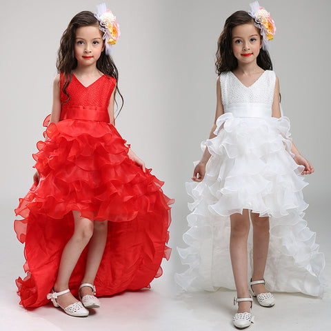 2017 girl party  trailing dress ball gown  with bow-knot