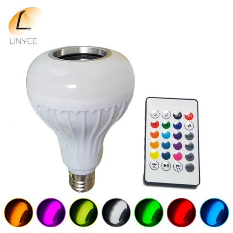 Wireless Bluetooth Speaker  LED Bulb  with 24 Keys  Remote Control