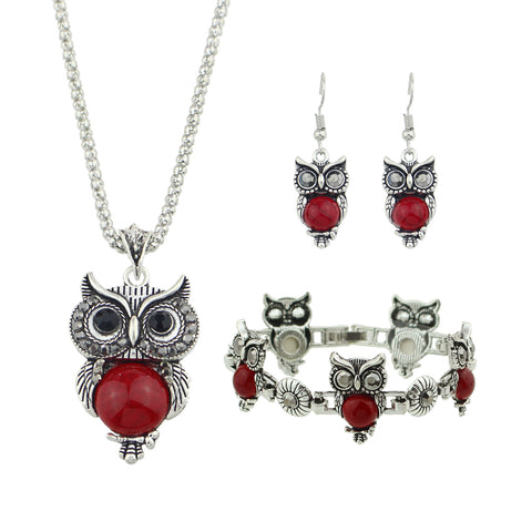 Owl Pendant Necklace,  Owl Drop Earrings and  Charm Bracelet Jewelry Set