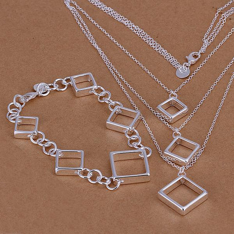 Square Set  silver plated Jewelry set