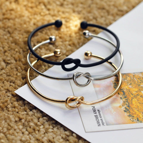 Original design very simple about pure copper casting love knot knot open metal bangle bracelet love bracelet - Westbury Collections