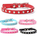 Puppy Dogs Collar Bell Rhinestone PU Leather Cat Supply Collars Pet Neck Strap