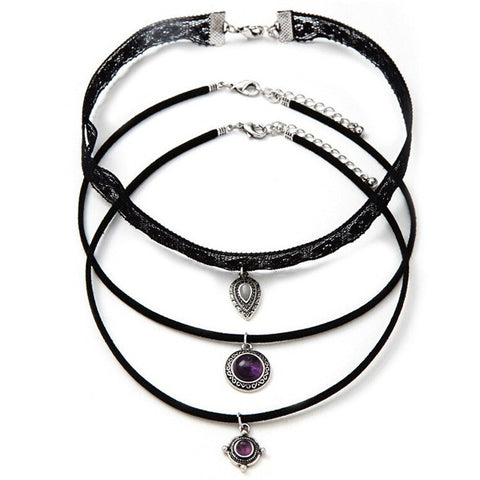 3Pc  Vintage Silver Choker Necklace