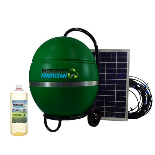 Solar Powered Mosquito and Insect Misting System with 1 Quart of Mosquito Magician Mosquito Killing Concentrate