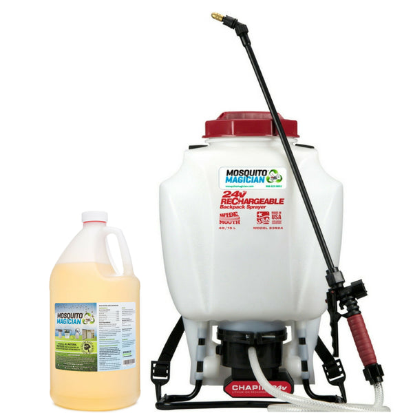 Battery Backpack Sprayer with 1 Gallon Natural Mosquito Killer & Repellent Concentrate Combo