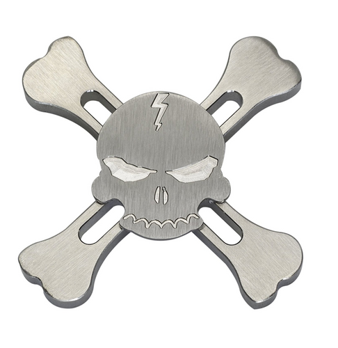 X Bone Skull and Crossbones Fidget Spinner - Stainless Steel