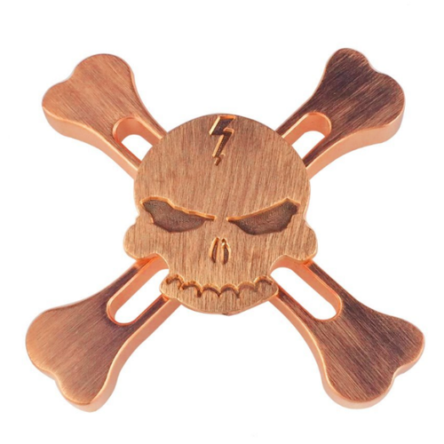 X Bone Skull and Crossbones Fidget Spinner - Copper
