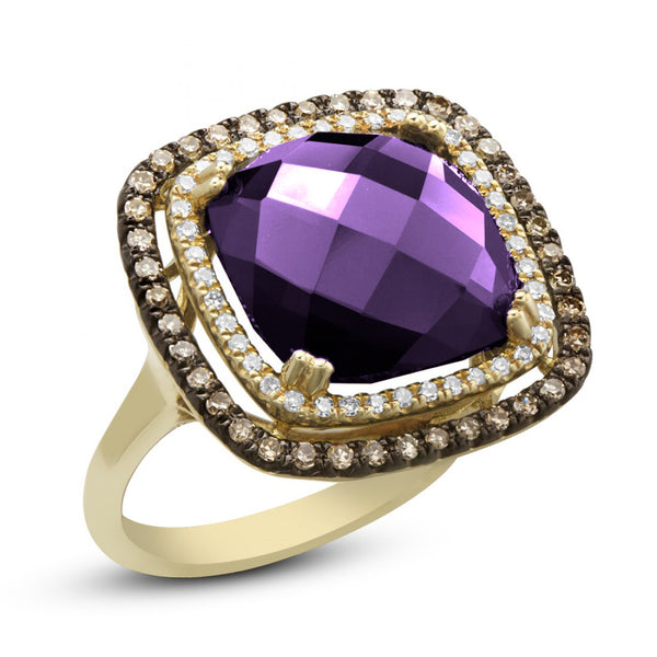 14kt Yellow Gold Purple Amethyst Diamond Ring