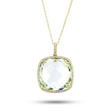 14kt Yellow Gold Green Amethyst Necklace