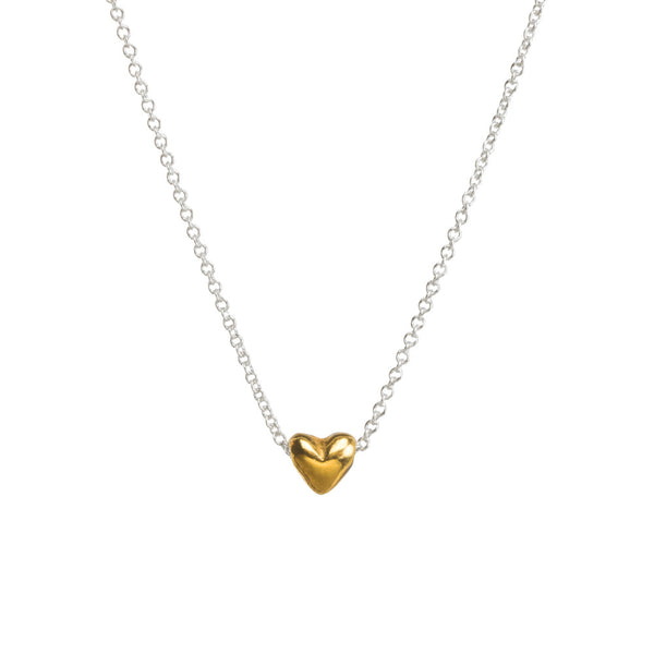 Dream Of Love Necklace Gold Heart- Sterling Silver Chain