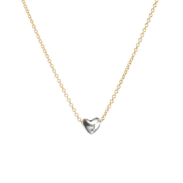 Dream Of Love Necklace Silver Heart- Gold Dipped Chain