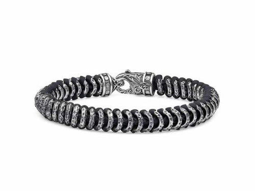 Distressed Link Woven Leather Bracelet