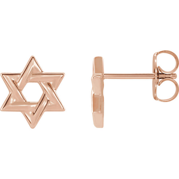 Rose Gold Star of David Studs