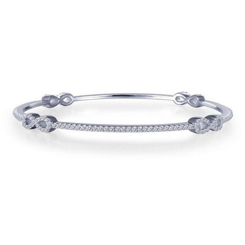 Simulated Diamond Sterling Silver Thin Stackable Infinity Bangle Bracelet B0025CLP72