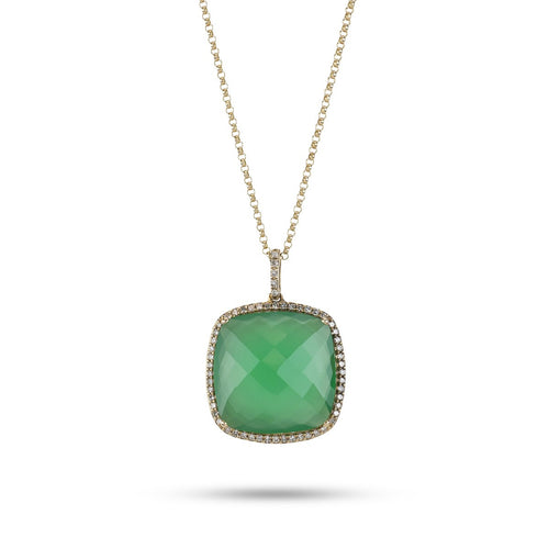 14kt Yellow Gold Green Onyx Necklace