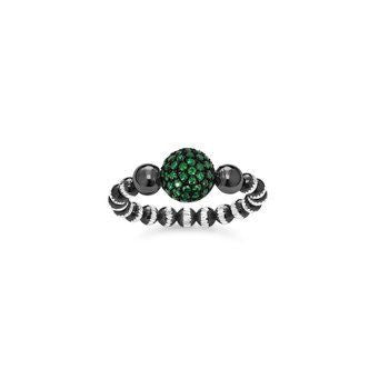 Green Pave Ball Ring