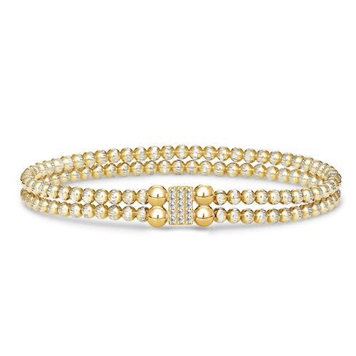 2 Row Pave Block Bracelet