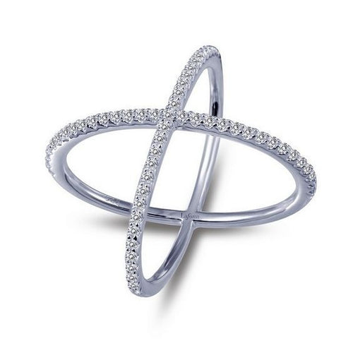 Simulated Diamond Sterling Silver Cross Ring R0171CLP