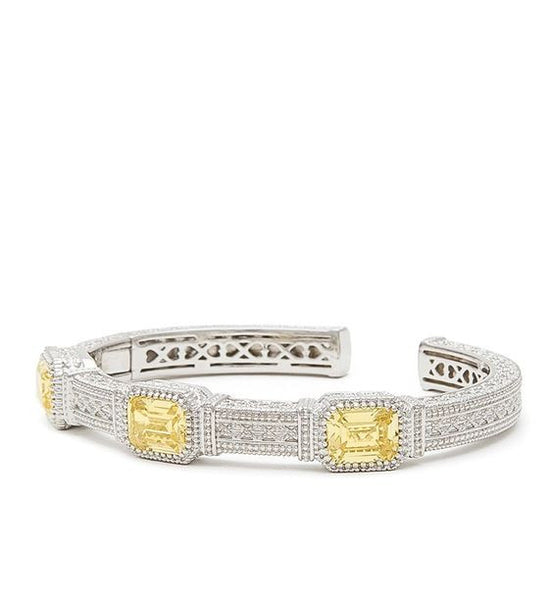 Estate Emerald Cut Canary Crystal Three Stone Cuff