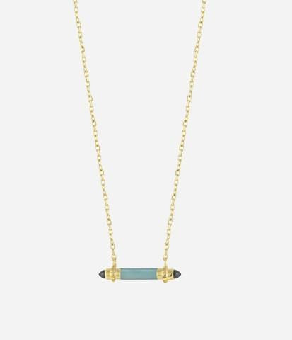 Amazonite / Onyx / Gold Plate Mini Bar Pendant Necklace