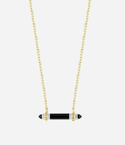 Yellow & White Silver / Onyx Bar Pendant Necklace
