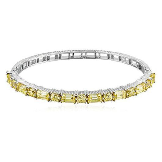 Baguette Cushion Canary Crystal Bangle Bracelet