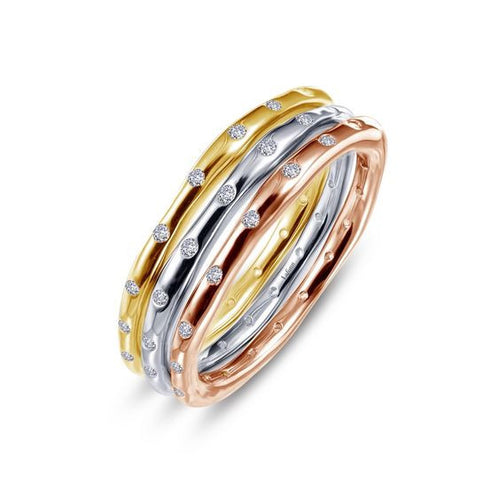 Simulated Diamond Tri-Color Stackable Rings R0199CLM05