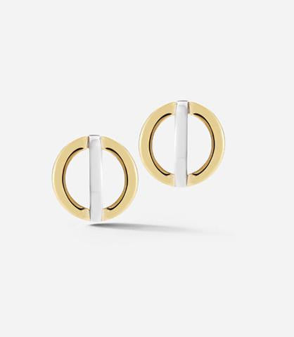 White & Yellow Silver Cross Circle Stud Earrings