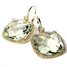 14kt Yellow Gold Green Amethyst Earrings