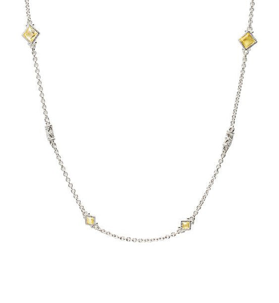 "Estate Canary Crystal 34"" Necklace"